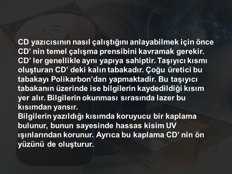 CD yazıcısının nasıl çalıştığını anlayabilmek için önce CD' nin temel çalışma prensibini kavramak gerekir. CD' ler genellikle aynı yapıya sahiptir. Ta