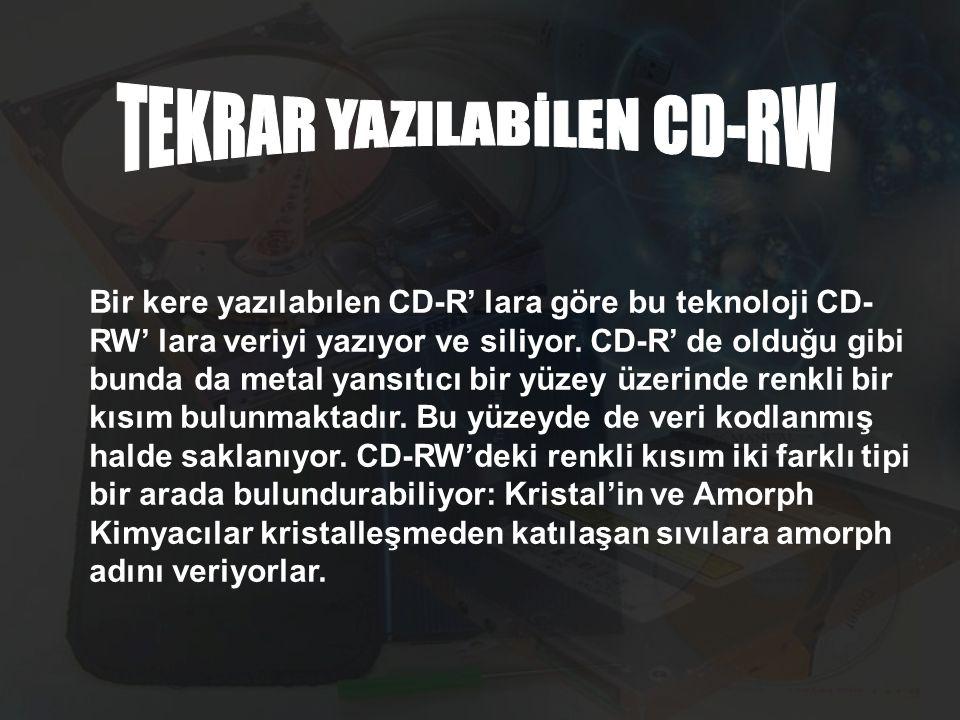 Bir kere yazılabılen CD-R' lara göre bu teknoloji CD- RW' lara veriyi yazıyor ve siliyor.