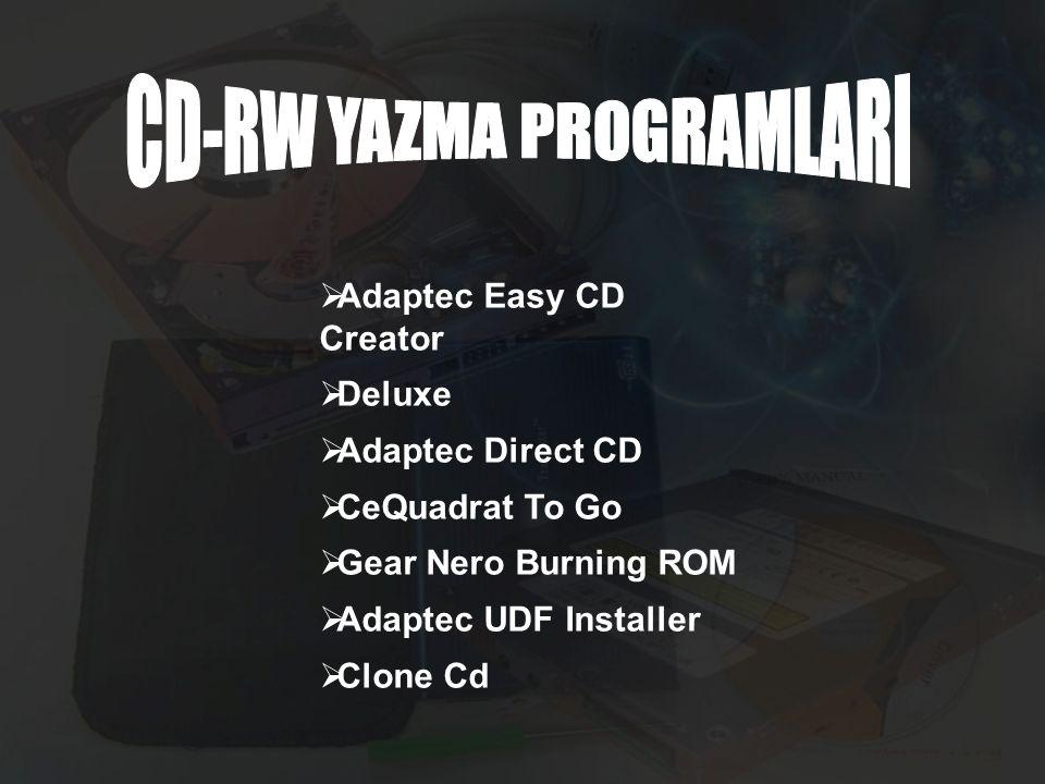  Adaptec Easy CD Creator  Deluxe  Adaptec Direct CD  CeQuadrat To Go  Gear Nero Burning ROM  Adaptec UDF Installer  Clone Cd