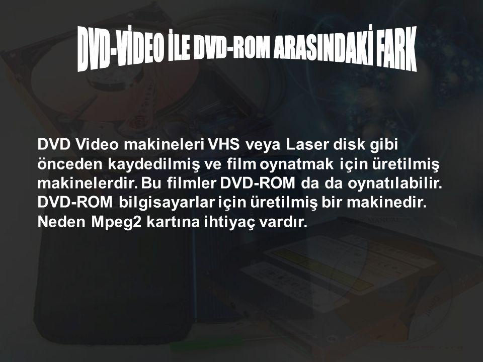 DVD Video makineleri VHS veya Laser disk gibi önceden kaydedilmiş ve film oynatmak için üretilmiş makinelerdir. Bu filmler DVD-ROM da da oynatılabilir