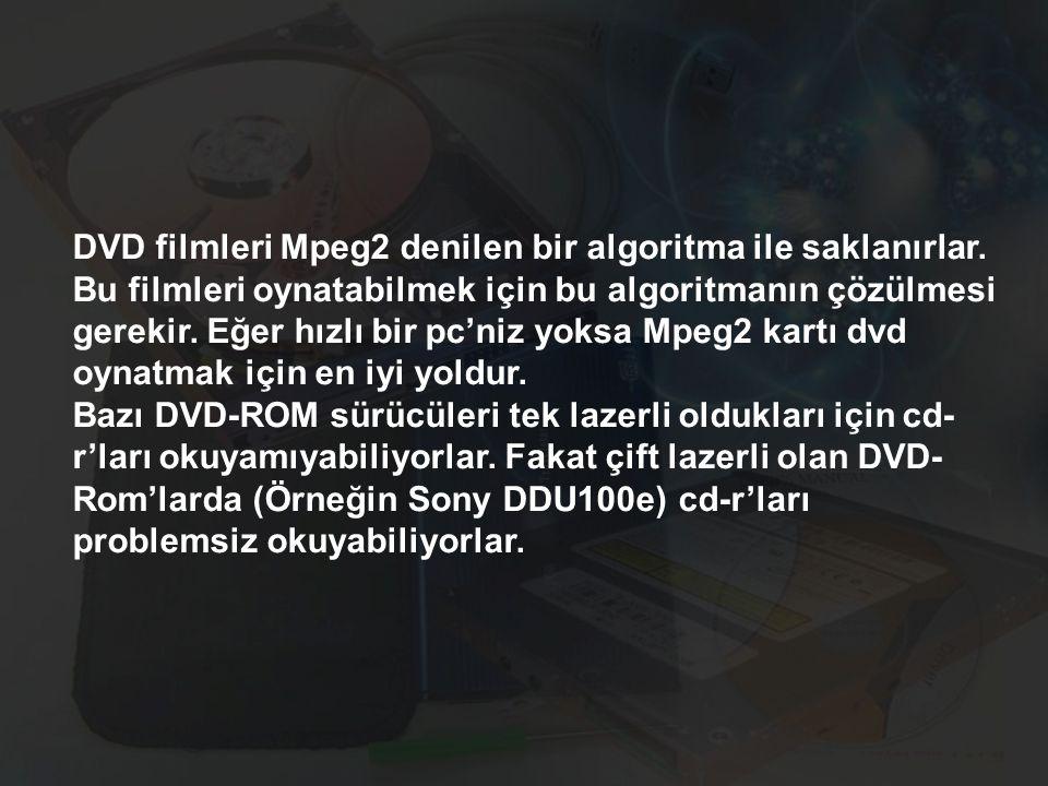 DVD filmleri Mpeg2 denilen bir algoritma ile saklanırlar. Bu filmleri oynatabilmek için bu algoritmanın çözülmesi gerekir. Eğer hızlı bir pc'niz yoksa