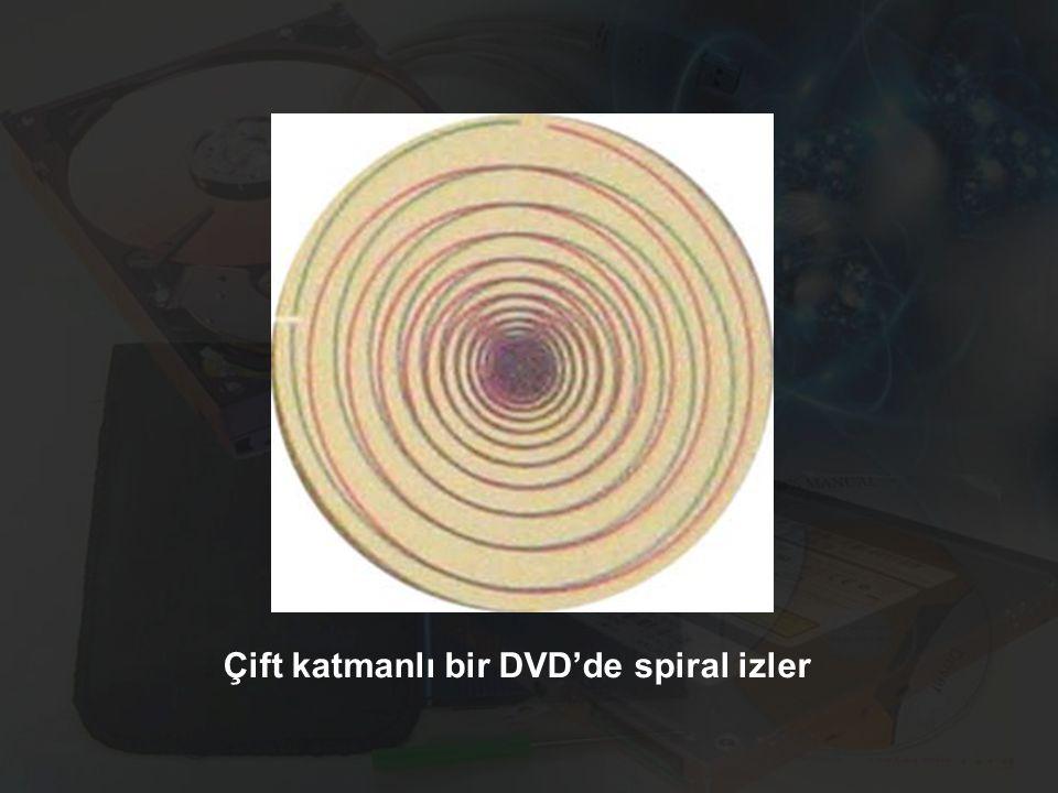 Çift katmanlı bir DVD'de spiral izler