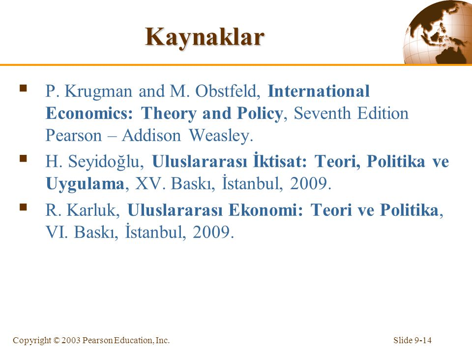Slide 9-14Copyright © 2003 Pearson Education, Inc. Kaynaklar  P. Krugman and M. Obstfeld, International Economics: Theory and Policy, Seventh Edition