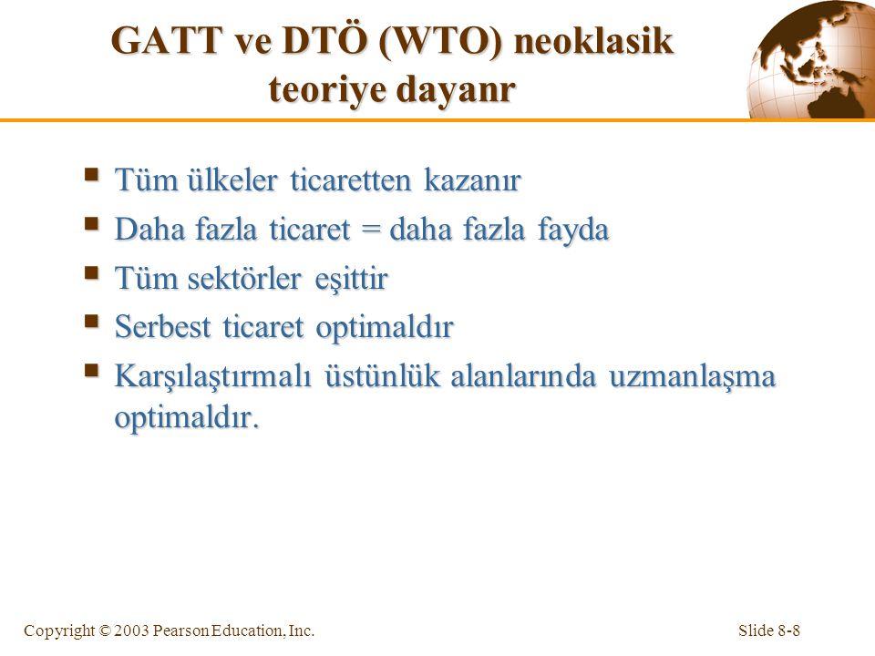 Slide 8-8Copyright © 2003 Pearson Education, Inc. GATT ve DTÖ (WTO) neoklasik teoriye dayanr  Tüm ülkeler ticaretten kazanır  Daha fazla ticaret = d