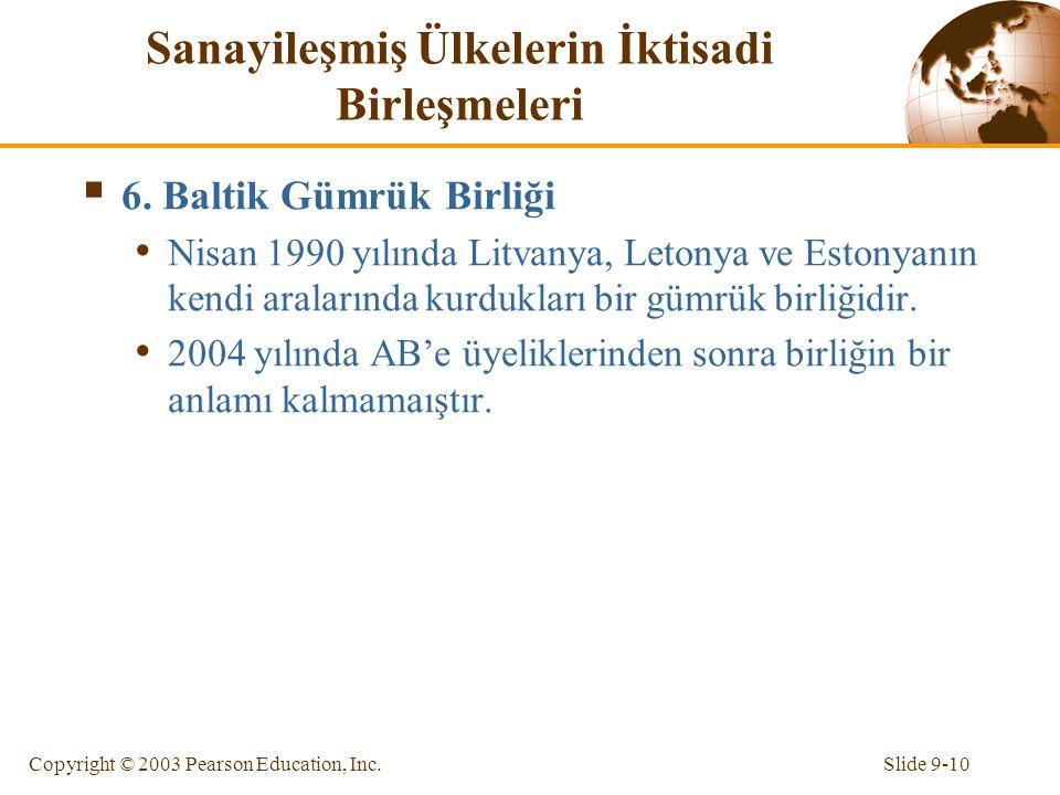 Slide 9-10Copyright © 2003 Pearson Education, Inc. Sanayileşmiş Ülkelerin İktisadi Birleşmeleri  6. Baltik Gümrük Birliği Nisan 1990 yılında Litvanya