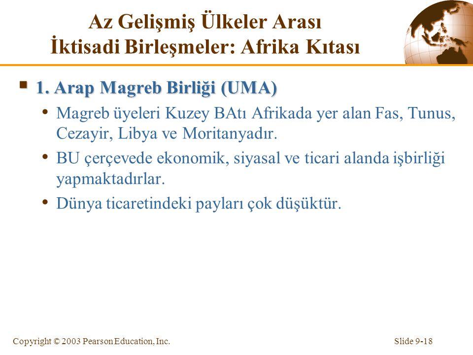 Slide 9-18Copyright © 2003 Pearson Education, Inc. Az Gelişmiş Ülkeler Arası İktisadi Birleşmeler: Afrika Kıtası  1. Arap Magreb Birliği (UMA) Magreb