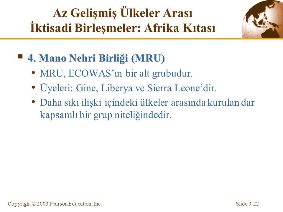 Slide 9-22Copyright © 2003 Pearson Education, Inc. Az Gelişmiş Ülkeler Arası İktisadi Birleşmeler: Afrika Kıtası  4. Mano Nehri Birliği (MRU) MRU, EC