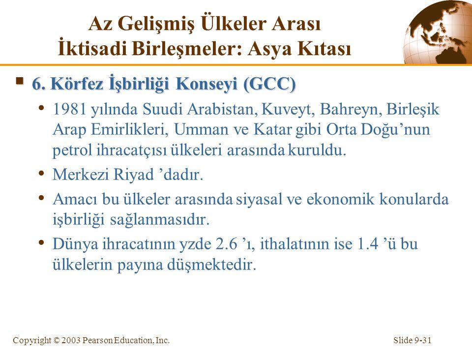Slide 9-31Copyright © 2003 Pearson Education, Inc. Az Gelişmiş Ülkeler Arası İktisadi Birleşmeler: Asya Kıtası  6. Körfez İşbirliği Konseyi (GCC) 198