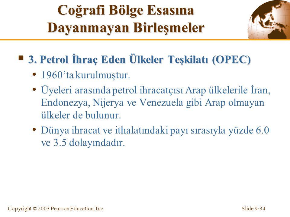 Slide 9-34Copyright © 2003 Pearson Education, Inc. Coğrafi Bölge Esasına Dayanmayan Birleşmeler  3. Petrol İhraç Eden Ülkeler Teşkilatı (OPEC) 1960't