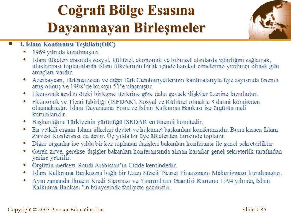Slide 9-35Copyright © 2003 Pearson Education, Inc. Coğrafi Bölge Esasına Dayanmayan Birleşmeler  4. İslam Konferansı Teşkilatı(OIC) 1969 yılında kuru