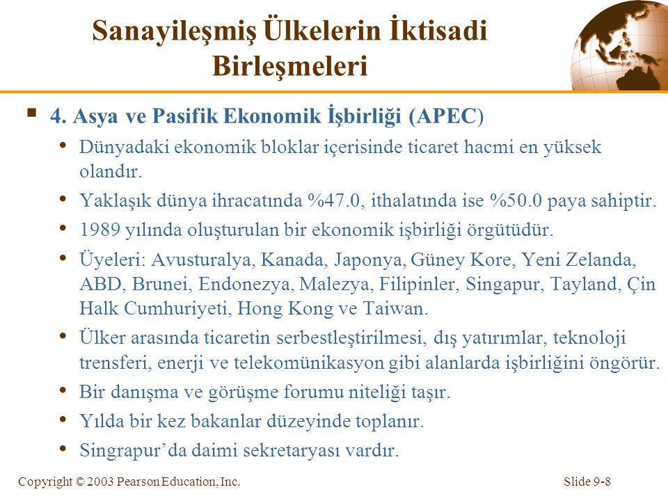 Slide 9-8Copyright © 2003 Pearson Education, Inc. Sanayileşmiş Ülkelerin İktisadi Birleşmeleri  4. Asya ve Pasifik Ekonomik İşbirliği (APEC) Dünyadak