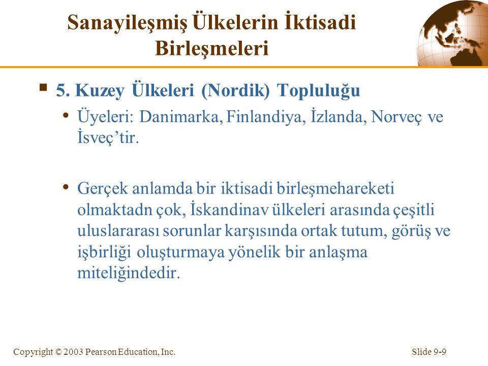 Slide 9-9Copyright © 2003 Pearson Education, Inc. Sanayileşmiş Ülkelerin İktisadi Birleşmeleri  5. Kuzey Ülkeleri (Nordik) Topluluğu Üyeleri: Danimar
