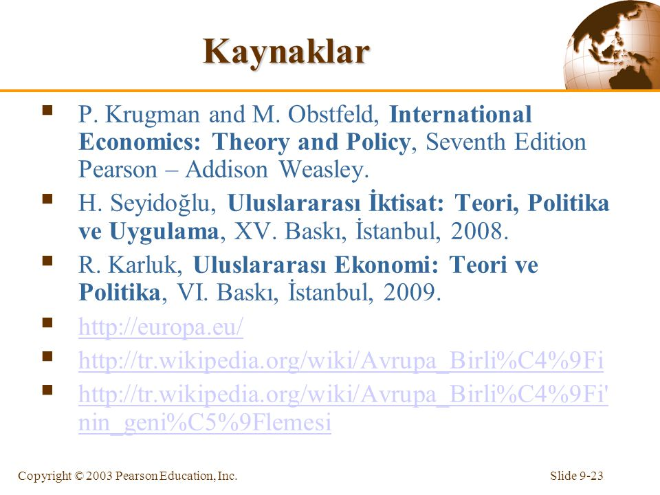 Slide 9-23Copyright © 2003 Pearson Education, Inc. Kaynaklar  P. Krugman and M. Obstfeld, International Economics: Theory and Policy, Seventh Edition