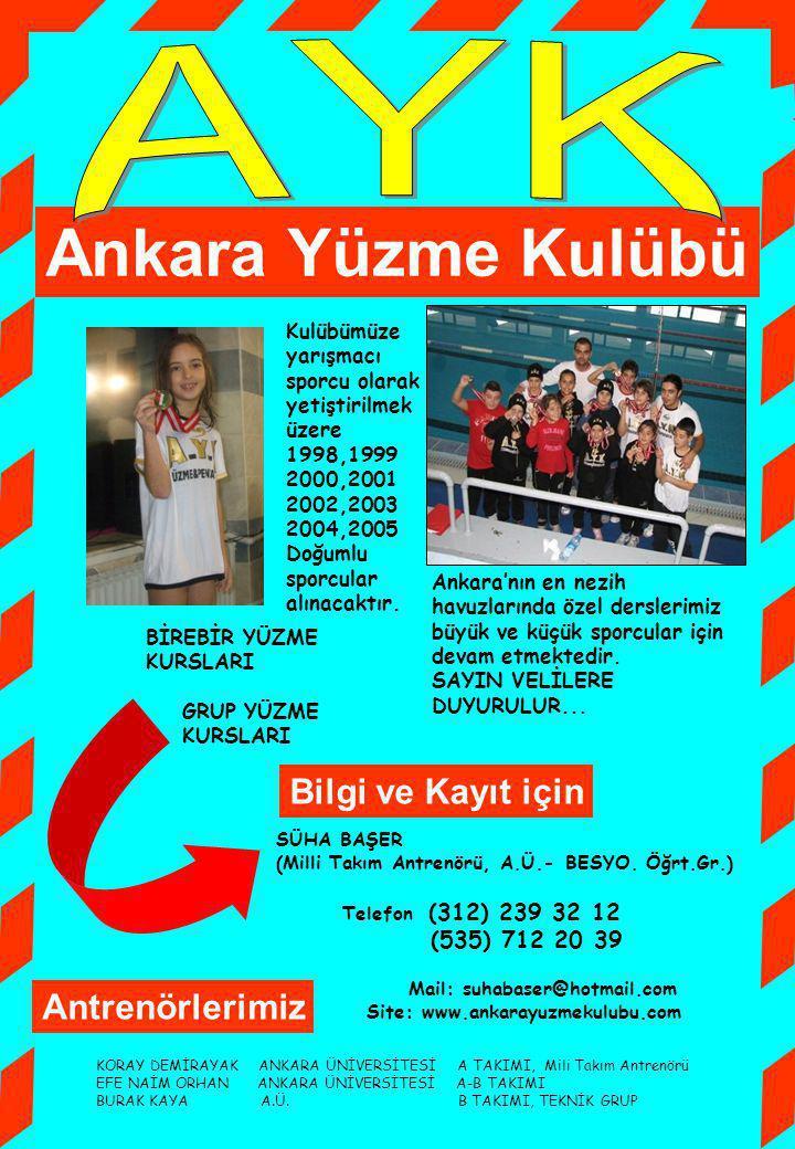 Kulübümüze yarışmacı sporcu olarak yetiştirilmek üzere 1998,1999 2000,2001 2002,2003 2004,2005 Doğumlu sporcular alınacaktır. BİREBİR YÜZME KURSLARI G