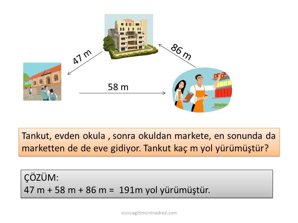 4 7 m 58 m 86 m Tankut, evden okula, sonra okuldan markete, en sonunda da marketten de de eve gidiyor.