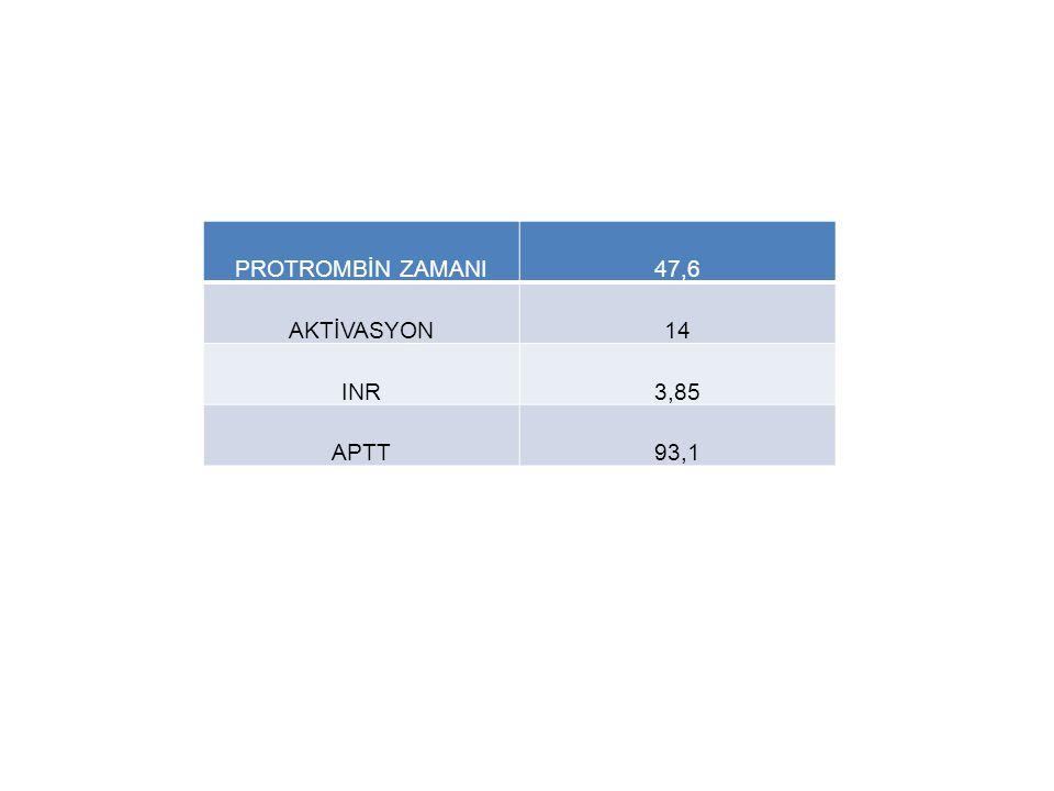 PROTROMBİN ZAMANI47,6 AKTİVASYON14 INR3,85 APTT93,1