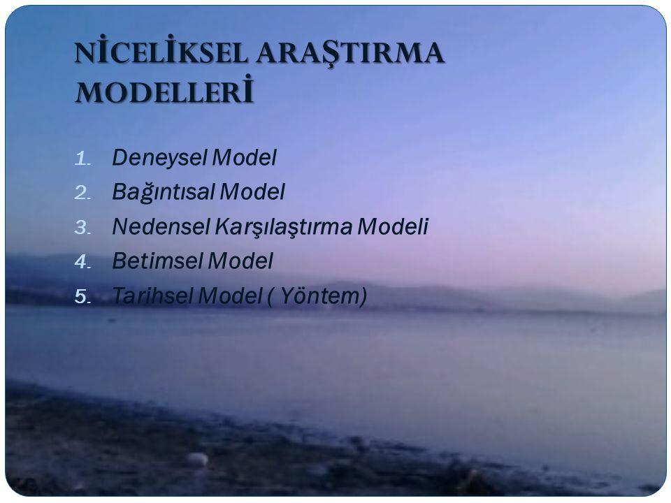 N İ CEL İ KSEL ARA Ş TIRMA MODELLER İ 1.Deneysel Model 2.