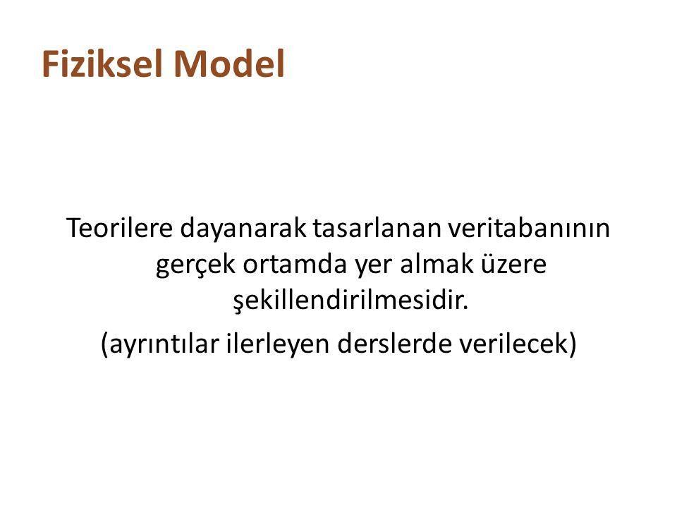 Fiziksel Model Teorilere dayanarak tasarlanan veritabanının gerçek ortamda yer almak üzere şekillendirilmesidir. (ayrıntılar ilerleyen derslerde veril