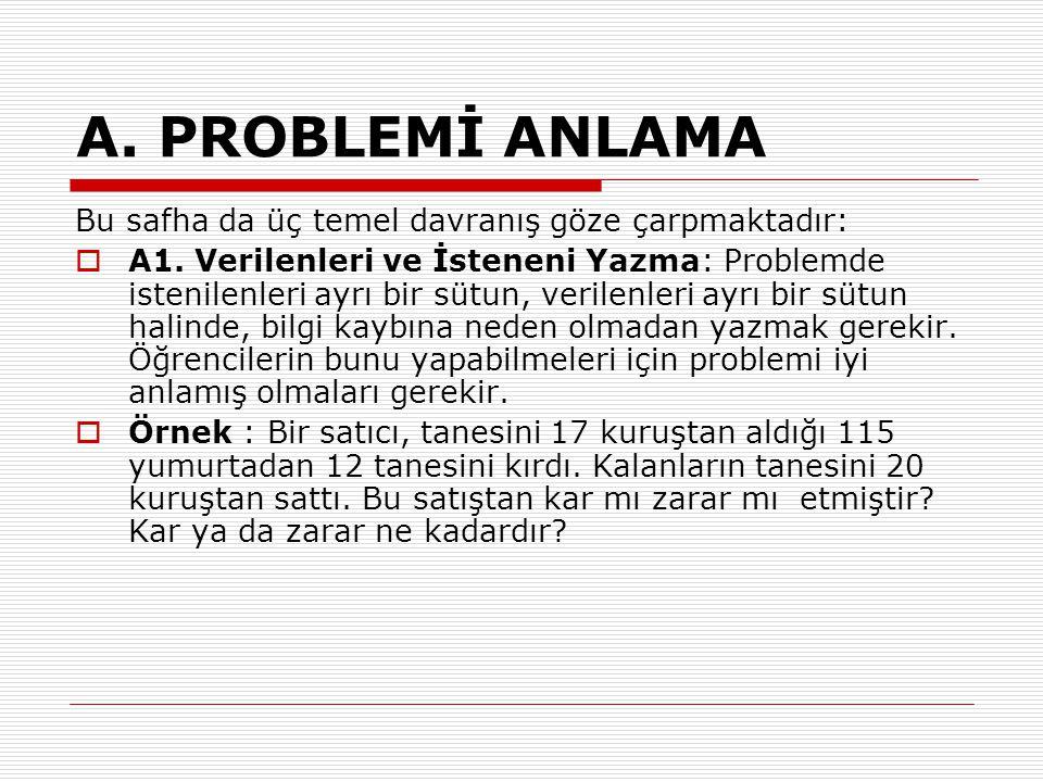 A. PROBLEMİ ANLAMA Bu safha da üç temel davranış göze çarpmaktadır:  A1. Verilenleri ve İsteneni Yazma: Problemde istenilenleri ayrı bir sütun, veril