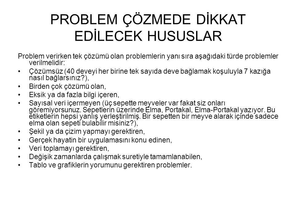 PROBLEM ÇÖZMEDE DİKKAT EDİLECEK HUSUSLAR Problem verirken tek çözümü olan problemlerin yanı sıra aşağıdaki türde problemler verilmelidir: Çözümsüz (40