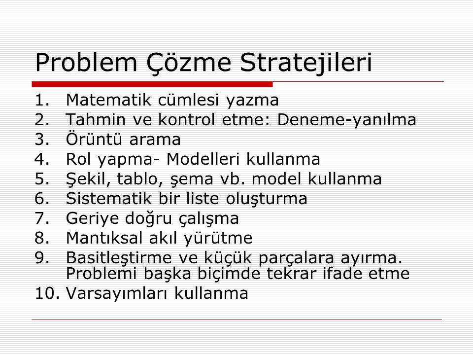 Problem Çözme Stratejileri 1.Matematik cümlesi yazma 2.Tahmin ve kontrol etme: Deneme-yanılma 3.Örüntü arama 4.Rol yapma- Modelleri kullanma 5.Şekil,