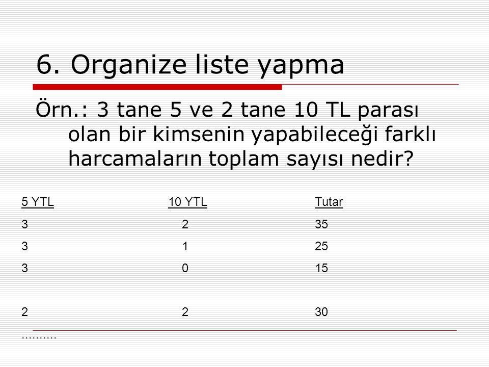 6. Organize liste yapma Örn.: 3 tane 5 ve 2 tane 10 TL parası olan bir kimsenin yapabileceği farklı harcamaların toplam sayısı nedir? 5 YTL10 YTLTutar