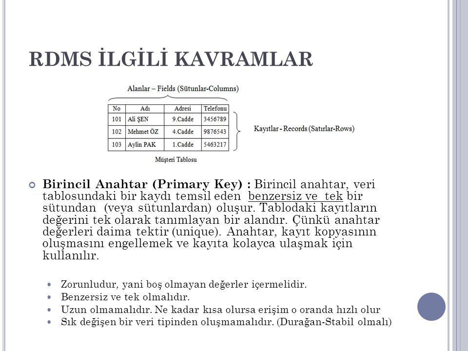 RDMS İLGİLİ KAVRAMLAR Birincil Anahtar (Primary Key) : Birincil anahtar, veri tablosundaki bir kaydı temsil eden benzersiz ve tek bir sütundan (veya s