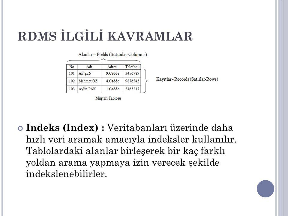RDMS İLGİLİ KAVRAMLAR Indeks (Index) : Veritabanları üzerinde daha hızlı veri aramak amacıyla indeksler kullanılır. Tablolardaki alanlar birleşerek bi