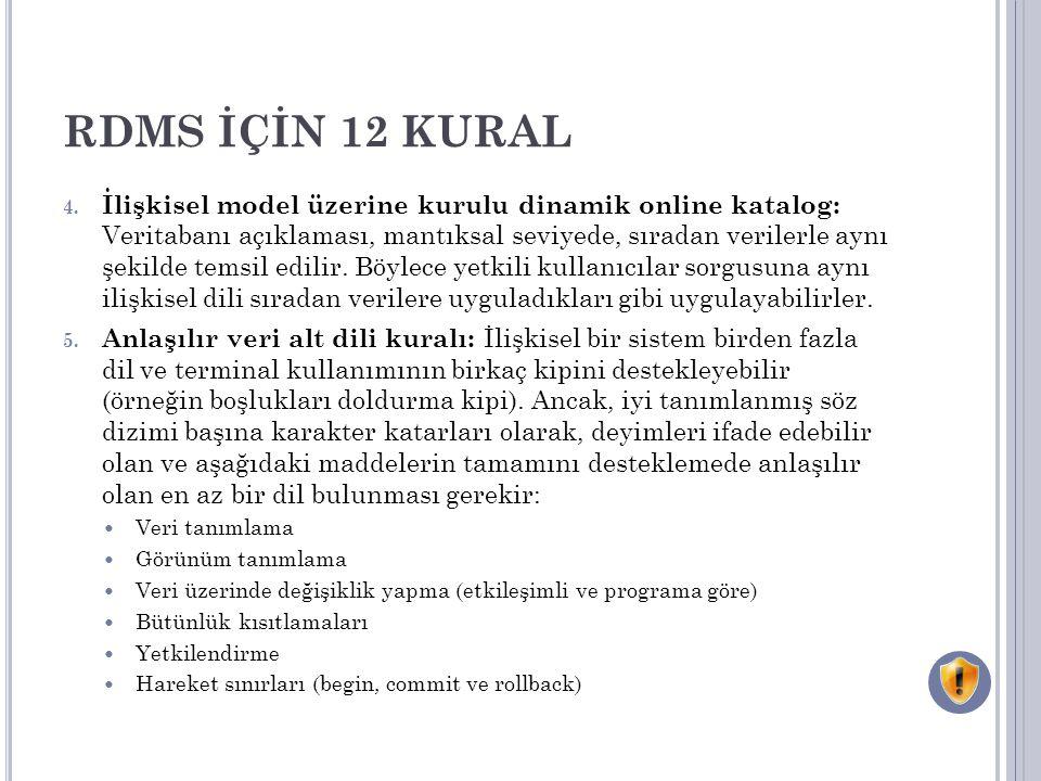 RDMS İÇİN 12 KURAL 4.