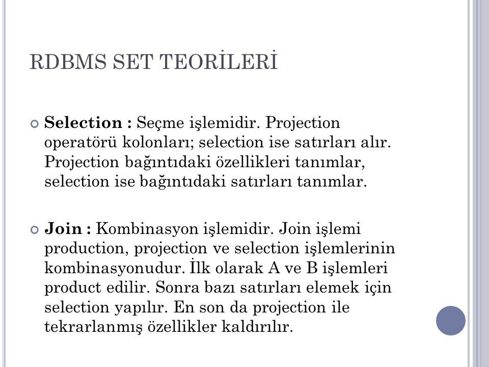 RDBMS SET TEORİLERİ Selection : Seçme işlemidir. Projection operatörü kolonları; selection ise satırları alır. Projection bağıntıdaki özellikleri tanı