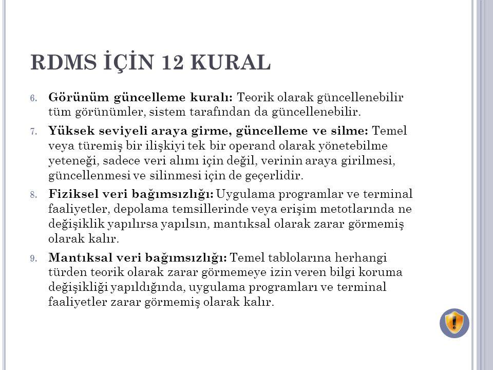 RDMS İÇİN 12 KURAL 6. Görünüm güncelleme kuralı: Teorik olarak güncellenebilir tüm görünümler, sistem tarafından da güncellenebilir. 7. Yüksek seviyel