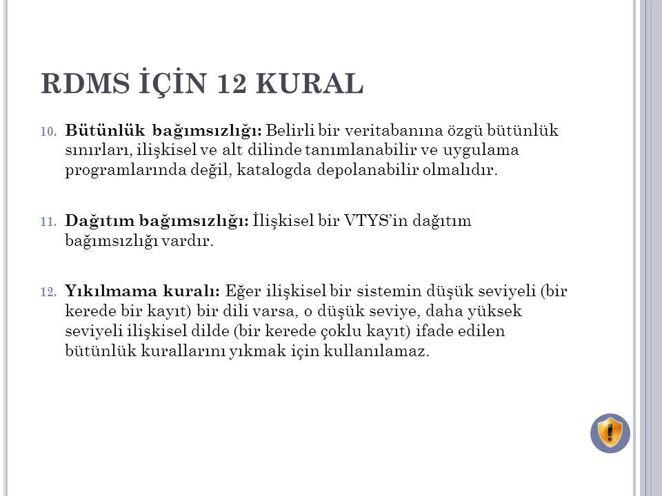 RDMS İÇİN 12 KURAL 10.