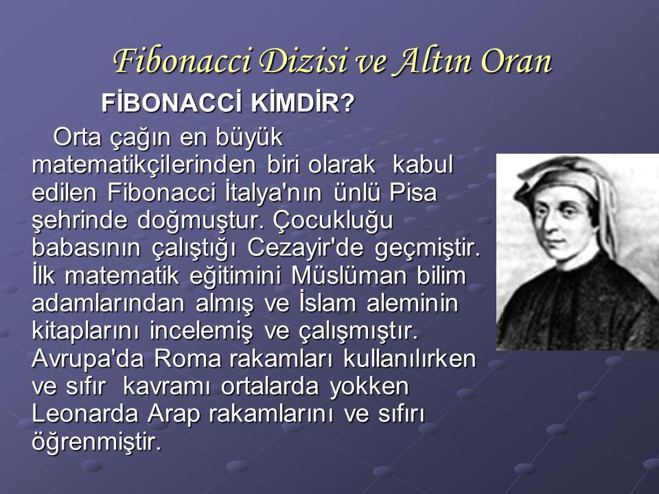 Fibonacci Dizisi ve Altın Oran FİBONACCİ KİMDİR? FİBONACCİ KİMDİR? Orta çağın en büyük matematikçilerinden biri olarak kabul edilen Fibonacci İtalya'n