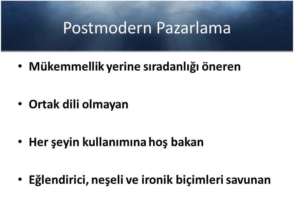 Postmodern Pazarlama Stephen Brown Postmodern Marketing isimli kitabında postmodern pazarlamayı karakterize eden postmodern toplumsal yapının getirdiği unsurlardan bahsetmektedir.