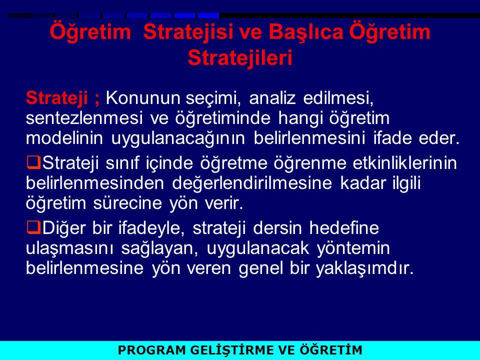 Öğretim Stratejisi ve Başlıca Öğretim Stratejileri Strateji ; Konunun seçimi, analiz edilmesi, sentezlenmesi ve öğretiminde hangi öğretim modelinin uy