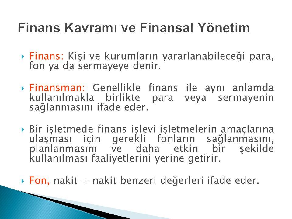  Finans: Kişi ve kurumların yararlanabileceği para, fon ya da sermayeye denir.  Finansman: Genellikle finans ile aynı anlamda kullanılmakla birlikte