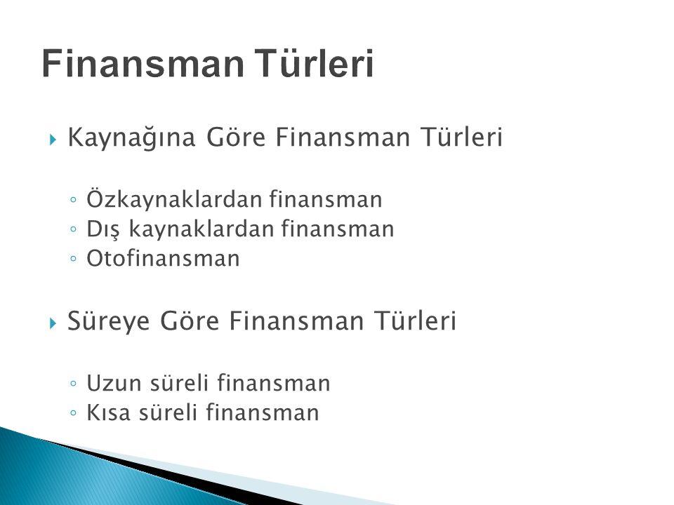  Kaynağına Göre Finansman Türleri ◦ Özkaynaklardan finansman ◦ Dış kaynaklardan finansman ◦ Otofinansman  Süreye Göre Finansman Türleri ◦ Uzun sürel