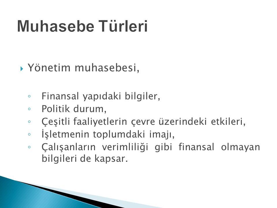  Yönetim muhasebesi, ◦ Finansal yapıdaki bilgiler, ◦ Politik durum, ◦ Çeşitli faaliyetlerin çevre üzerindeki etkileri, ◦ İşletmenin toplumdaki imajı,