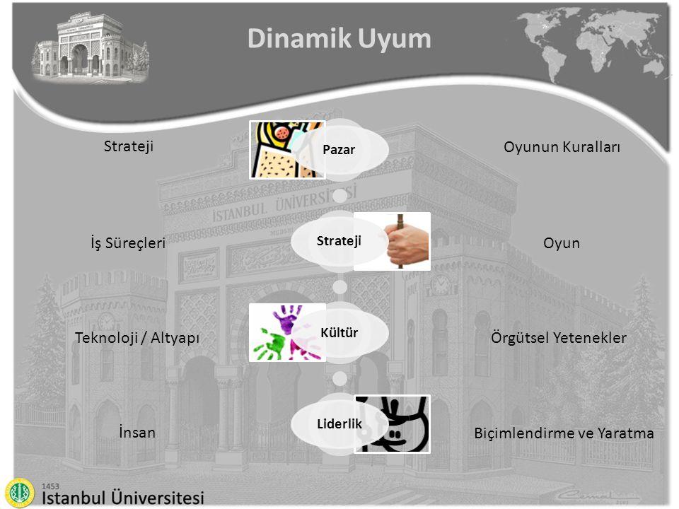 Dinamik Uyum PazarStratejiKültürLiderlik Oyunun Kuralları Oyun Örgütsel Yetenekler Biçimlendirme ve Yaratma Strateji İş Süreçleri Teknoloji / Altyapı İnsan