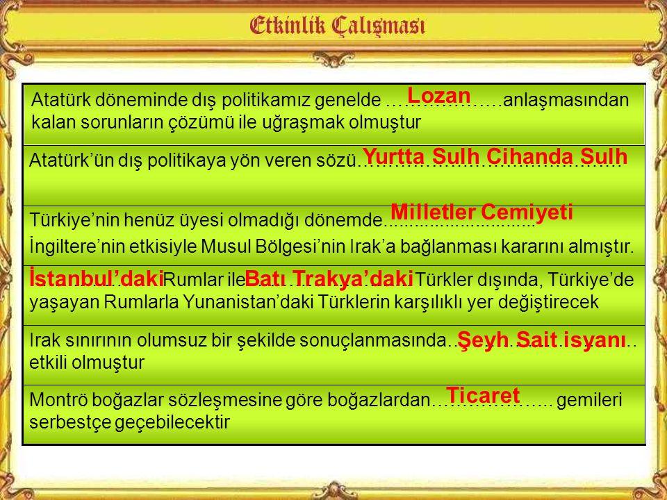 Atatürk Dönemi'ndeki Türk hükümetleri dış politikada belirli hedefleri gerçekleştirmek amacıyla hareket etmişlerdir. Bu hedefler arasında aşağıdakiler