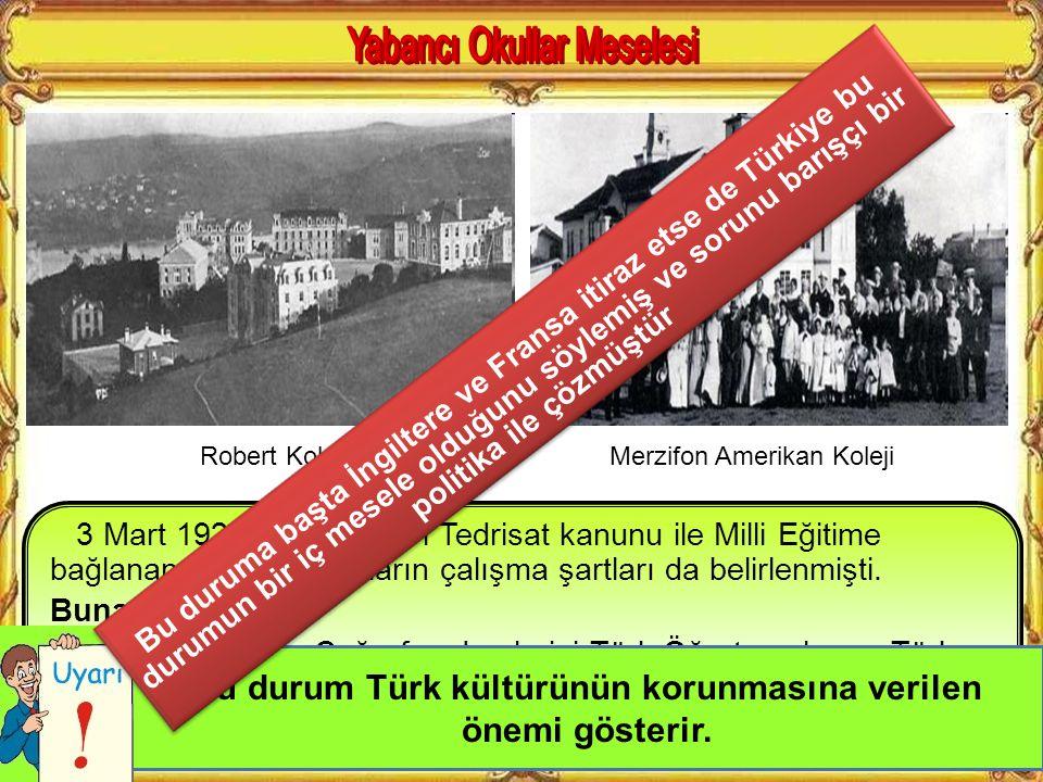 Osmanlı devletinin son dönemlerinde gerek azınlıklar gerekse yabancı ülkeler bir çok okul açmıştır. Denetim yapılmayan bu okullarda her okul kendine g