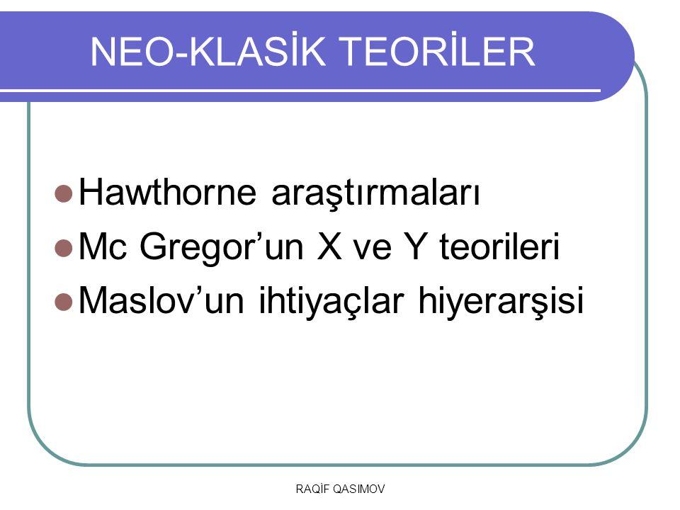 RAQİF QASIMOV NEO-KLASİK TEORİLER Hawthorne araştırmaları Mc Gregor'un X ve Y teorileri Maslov'un ihtiyaçlar hiyerarşisi