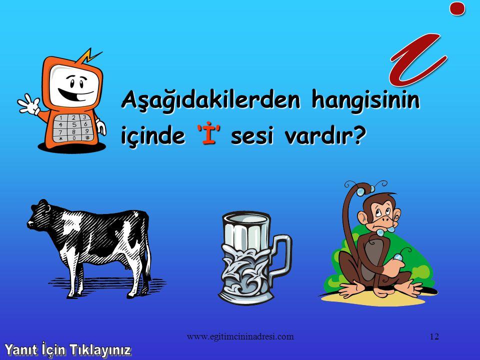 Aşağıdakilerden hangisinin içinde 'İ' sesi yoktur? 11www.egitimcininadresi.com