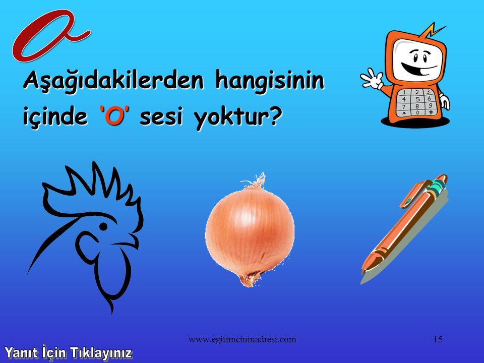 Aşağıdakilerden hangisinin içinde 'N' sesi yoktur? 14www.egitimcininadresi.com