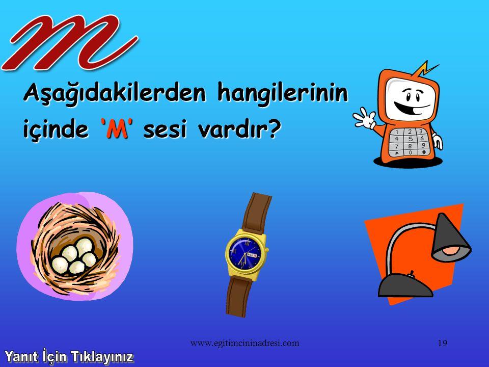 Aşağıdakilerden hangilerinin içinde 'R' sesi yoktur? 18www.egitimcininadresi.com