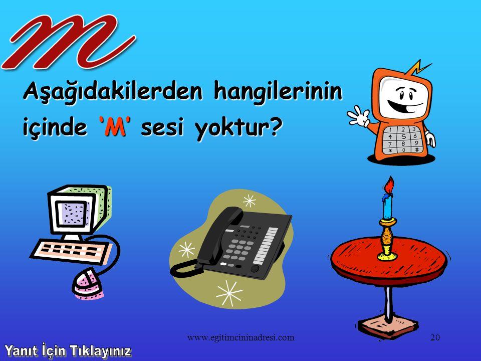 Aşağıdakilerden hangilerinin içinde 'M' sesi vardır? 19www.egitimcininadresi.com
