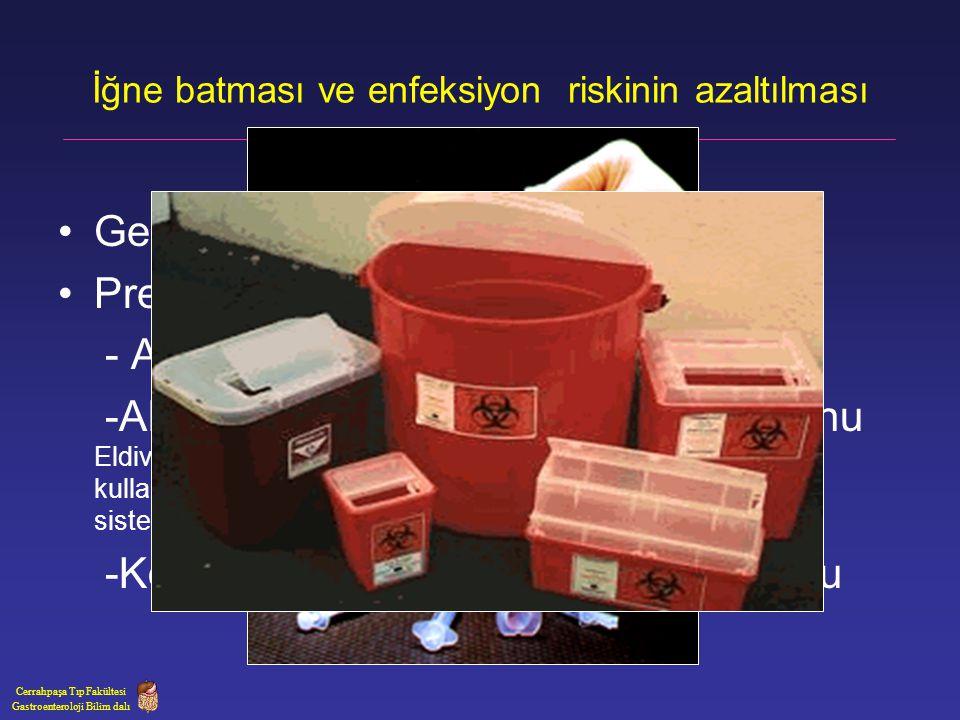 Yaralanmadan hemen sonra yapılacaklar Yara temizliği Sabunla yıkama +%70 alkolle dezenfeksiyon Yaralanmanın enfeksiyon komitesine bildirilmesi.