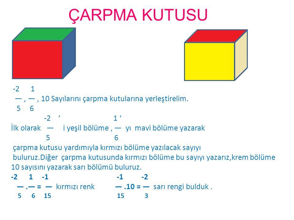Ç ARPMA KUTUSU -2 1 —, —, 10 Sayılarını çarpma kutularına yerleştirelim. 5 6 -2 ' 1 ' İlk olarak — i yeşil bölüme, — yı mavi bölüme yazarak 5 6 çarpma