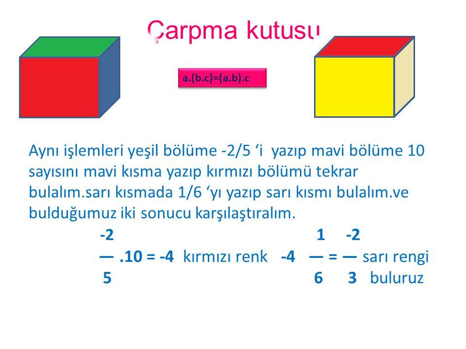 Çarpma kutusu Aynı işlemleri yeşil bölüme -2/5 'i yazıp mavi bölüme 10 sayısını mavi kısma yazıp kırmızı bölümü tekrar bulalım.sarı kısmada 1/6 'yı ya