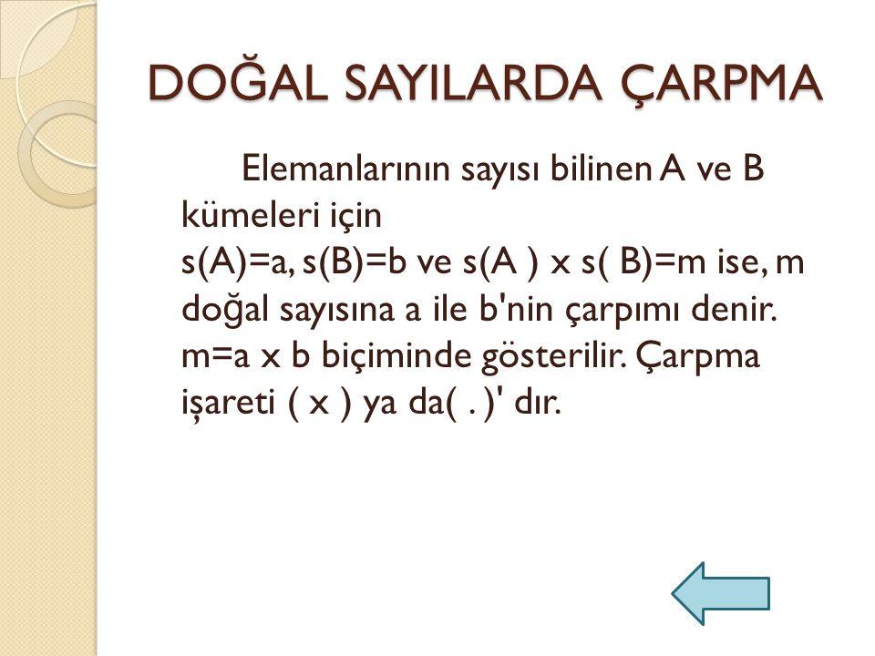 DO Ğ AL SAYILARDA ÇARPMA Elemanlarının sayısı bilinen A ve B kümeleri için s(A)=a, s(B)=b ve s(A ) x s( B)=m ise, m do ğ al sayısına a ile b nin çarpımı denir.